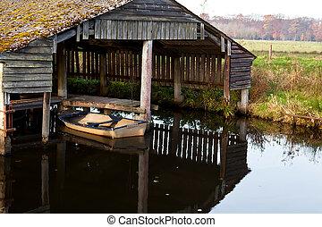 fából való, kunyhó, öreg, halász, csónakázik