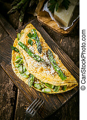 fából való, omlett, tojás, bizottság, sajt