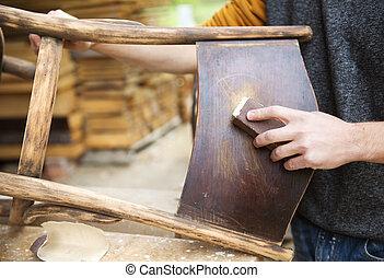 fából való, restaurálás, berendezés