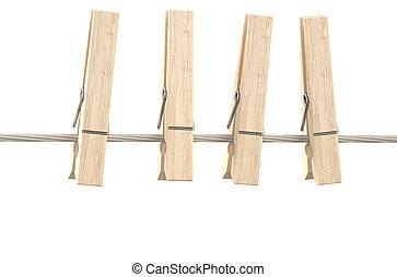 fából való, ruhaszárító kötél, ruhaszárító csipeszek