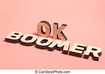 fából való, szavak, háttér., népszerű, meme, rózsaszínű, internet, emberek., jóváhagy, boomer., fiatal
