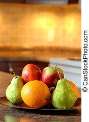 fából való, tányér, gyümölcs