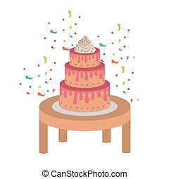 fából való, torta, születésnap, boldog, asztal