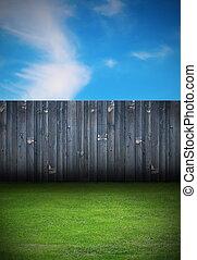 fából való, udvar, öreg, kerítés