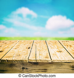 fából való, vidéki táj, üres, szabadban, asztal