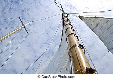 fából való, vitorlás hajó, árboc, jib, kétárbocos hajó