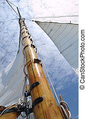 fából való, vitorlás hajó, foresail, árboc, jib, kétárbocos hajó