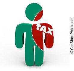 fáj, adót kiszab, -, adók, személy, kivágott