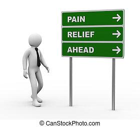 fáj, előre, személy, roadsign, megkönnyebbülés, 3