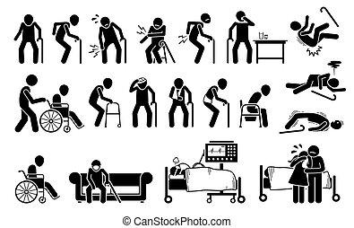 fáj, pain., sebesült, test, ember, öreg, közös