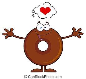 fánk, betű, karikatúra, csokoládé