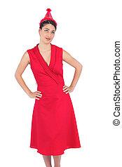 fárasztó, barna nő, kalap, nagyszerű, buli ruha, piros