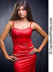 fárasztó, barna nő, ruha, meglehetősen, piros