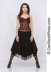 fárasztó, barna nő, ruha, spanyol
