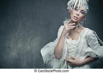 fárasztó, barna nő, ruha, szépség, elegáns