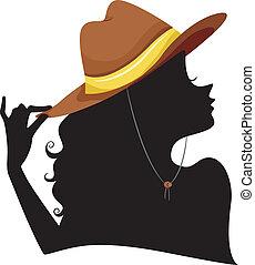 fárasztó, cowgirl, leány, árnykép, kalap