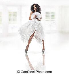 fárasztó, csinos, fehér, nő, ruha