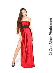 fárasztó, csinos, hosszú, áll, leány, ruha, piros