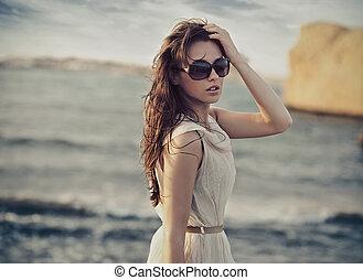 fárasztó, csinos, nő, napszemüveg