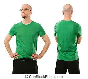 fárasztó, ember, zöld ing, tiszta