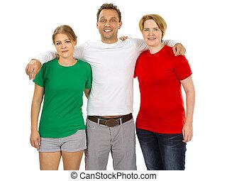 fárasztó, emberek, három, zöld, ing, tiszta, white piros
