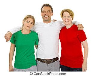 fárasztó, emberek, zöld, ing, tiszta, white piros