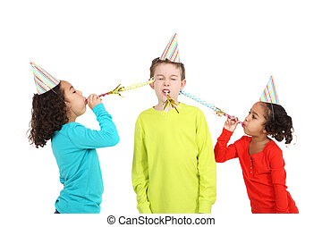 fárasztó, fújás, kalapok, gyerekek, zaj, fél, makers