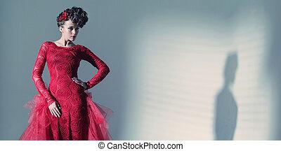 fárasztó, fantasztikus, nő, fashionbable, ruha, piros