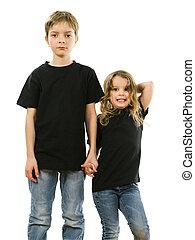 fárasztó, fiatal, fekete, ing, tiszta, gyerekek