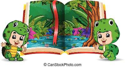 fárasztó, gyerekek, jelmez, könyv, erdő