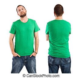 fárasztó, hím, zöld ing, tiszta