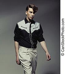 fárasztó, jelentékeny, black&white, ing, ember