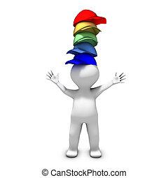 fárasztó, különböző, sok, kalapok, személy, felelősség, sors, kap