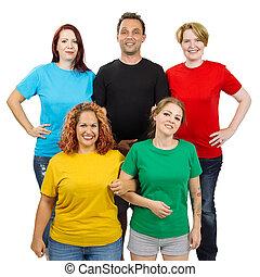 fárasztó, különböző, színezett, emberek, ing, tiszta