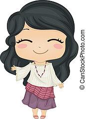 fárasztó, kevés, filipina, nemzeti, jelmez, leány, kimona