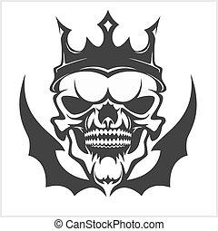 fárasztó, király, crown., koponya