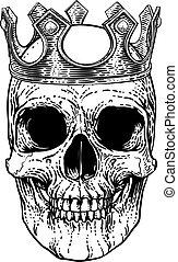 fárasztó, király, csontváz, koponya, királyi lombkorona, emberi