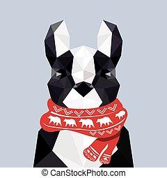 fárasztó, lakás, bulldog, modern, francia, tervezés, origami, karácsony, sál