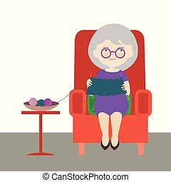 fárasztó, lakás, nő, öreg, ülés, karosszék, szvetter, -, ábra, karikatúra, vektor, tervezés, nagyanya., vagy, piros
