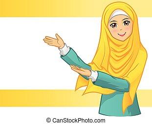 fárasztó, nő, függöny, sárga, muzulmán