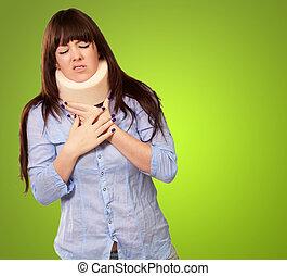 fárasztó, nő, neckbrace