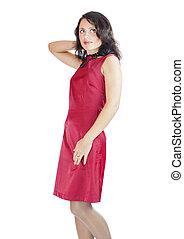 fárasztó, nő, ruha, piros