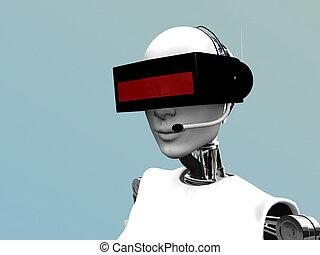 fárasztó, női, headset., robot, futuristic