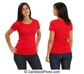 fárasztó, női, ing, piros, tiszta