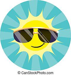 fárasztó, nap, napszemüveg, friss