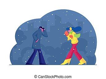 fárasztó, oltalmaz, időjárás, gyalogló, idő, öltözék, otthon, nő, mentén, wintertime, rossz, vektor, felnőtt, zakó, meleg, karikatúra, siet, utca, ábra, lakás, emberek, test, este, fagy, ember