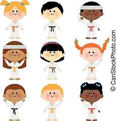 fárasztó, rajzóra, gyerekek, csoport, uniforms., ábra, harcias, vektor
