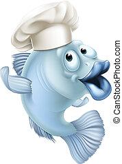 fárasztó, séf, fish, kalap, karikatúra