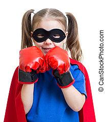 fárasztó, superhero, ökölvívás kesztyű, kölyök