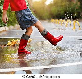 fárasztó, tócsa, eső, ugrás, csizma, gyermek, piros